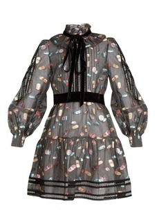Marc Jacobs Ruffled-collar fil coupé mini dress