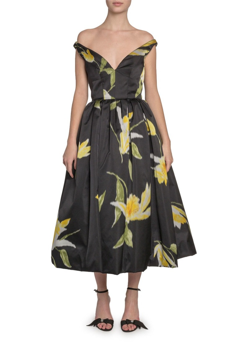 Marc Jacobs (Runway) Off-the-Shoulder Lily-Print Taffeta Dress