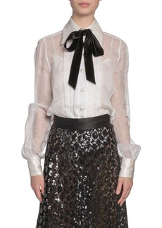 Marc Jacobs (Runway) Organdy Tie-Neck Pleated Button-Front Blouse