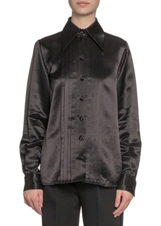 Marc Jacobs (Runway) Pleated Satin Button-Front Blouse