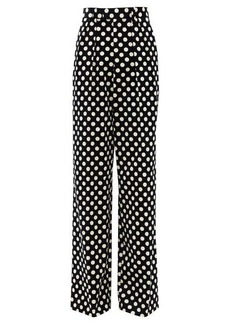 Marc Jacobs Runway Velvet polka-dot cotton wide-leg trousers
