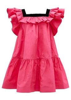 Marc Jacobs Runway Velvet-trimmed ruffles taffeta mini dress