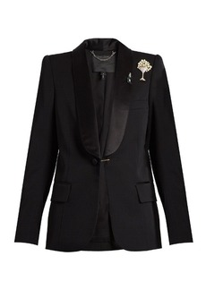 Marc Jacobs Satin-lapel embellished-brooch wool tuxedo jacket