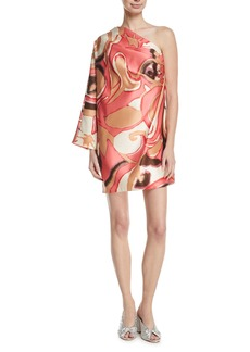 Marc Jacobs Satin One-Shoulder Mini Dress