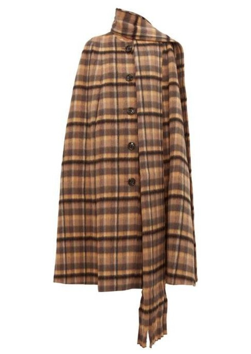 Marc Jacobs Scarf-panel checked alpaca-blend cape