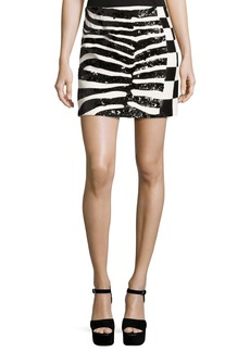 Marc Jacobs Sequined Zebra & Checker Miniskirt