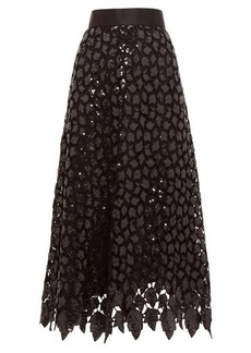 Marc Jacobs Sequinned guipure-lace midi skirt