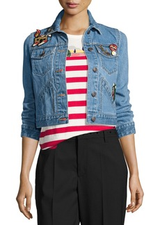 Marc Jacobs Shrunken Denim Jacket with Patches