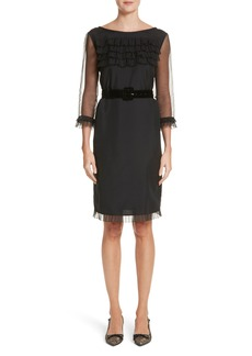 MARC JACOBS Silk Tulle Ruffle Dress