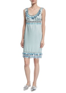Marc Jacobs Sleeveless Beaded Duchess Satin Cocktail Dress