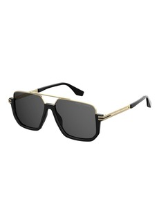 Marc Jacobs Square Metal & Acetate Sunglasses