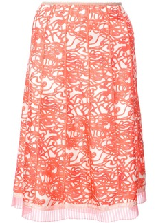 Marc Jacobs squiggle print pleated skirt - Red