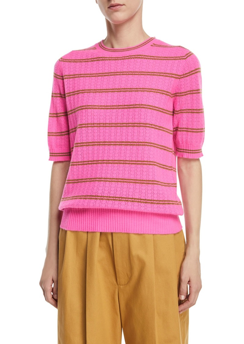 Marc Jacobs Striped Half-Sleeve Cashmere Sweater