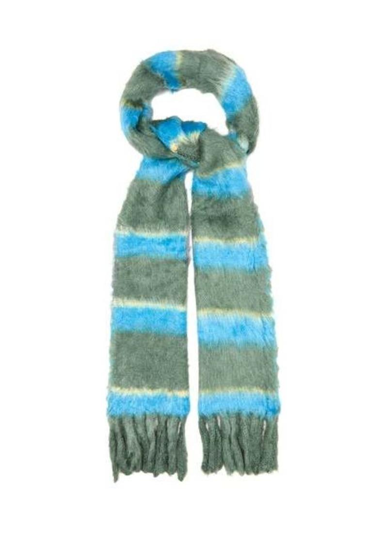 Marc Jacobs Striped tasselled silk scarf