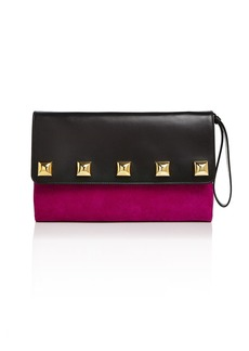 MARC JACOBS Studded Suede & Leather Clutch