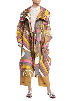 Marc Jacobs Swirl-Print Hooded Oversized Techno Coat
