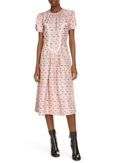 MARC JACOBS The '40s Trompe l'Oeil Print Silk Midi Dress