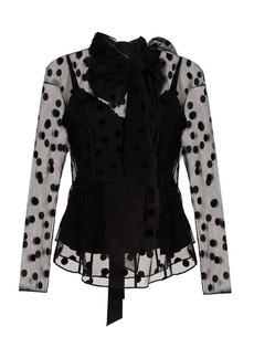 Marc Jacobs Tie-neck large polka-dot flocked tulle blouse