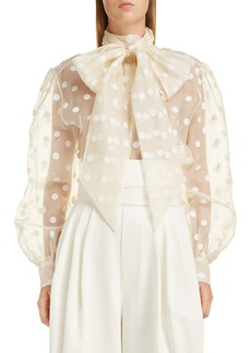 MARC JACOBS Tie Neck Polka Dot Silk Blouse