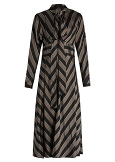 Marc Jacobs Tie-neck striped satin midi dress