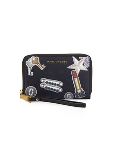 Marc Jacobs Tossed Charms Saffiano Zip Phone Wristlet Wallet