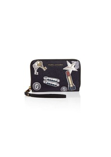 MARC JACOBS Tossed Charms Zip Saffiano Leather Phone Wristlet
