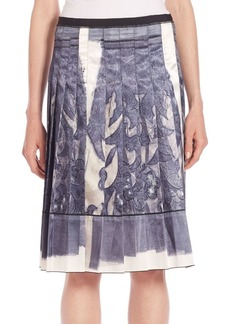 Marc Jacobs Transfer Lace Print Silk Pleated Skirt