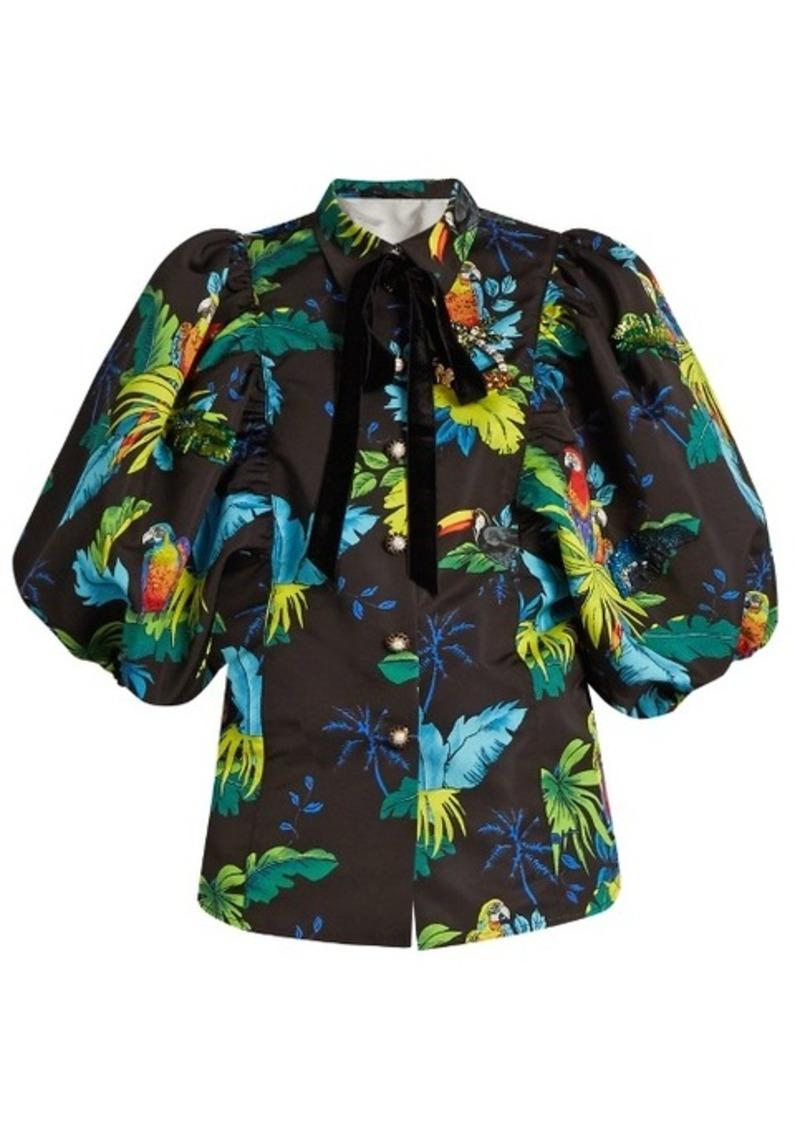 Marc Jacobs Tropical bird-print puff-sleeved jacket