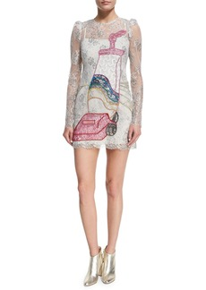 Marc Jacobs Vacuum-Embroidered Lace Cocktail Dress