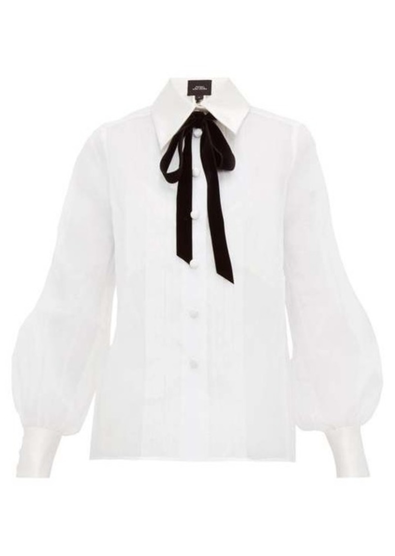 Marc Jacobs Velvet pussy-bow cotton-organza blouse