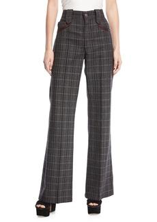Marc Jacobs Wide-Leg Plaid Pants w/ Leather-Trim Pockets
