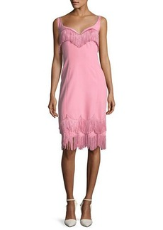 Marc Jacobs Wide-Neck Fringe-Trim Sheath Dress