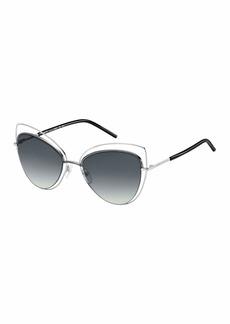 Wire-Rim Mirrored Cat-Eye Sunglasses