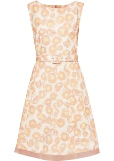 Marc Jacobs Woman Belted Chiffon-trimmed Floral-print Cotton-blend Poplin Dress Peach
