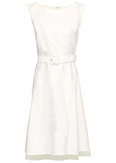 Marc Jacobs Woman Belted Cotton-canvas Dress White