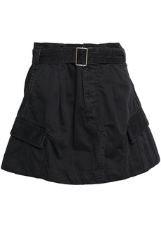 Marc Jacobs Woman Belted Cotton-twill Mini Skirt Black