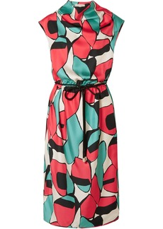 Marc Jacobs Woman Belted Draped Printed Silk-twill Midi Dress Multicolor