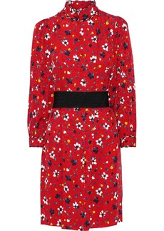 Marc Jacobs Woman Belted Floral-print Silk-jacquard Mini Dress Red
