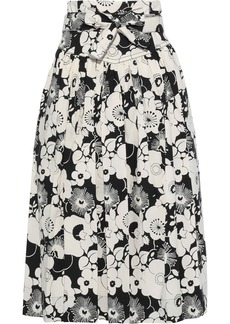 Marc Jacobs Woman Belted Pleated Floral-print Cotton-blend Midi Skirt Multicolor