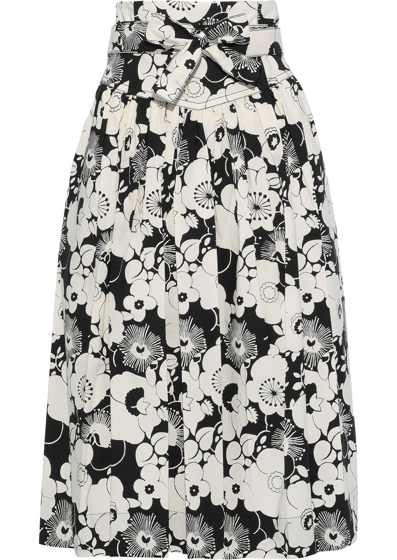 Marc Jacobs Woman Belted Pleated Floral-print Cotton-blend Skirt Multicolor