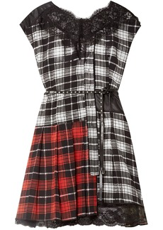 Marc Jacobs Woman Lace-trimmed Patchwork Shell And Checked Silk Crepe De Chine Mini Dress Black