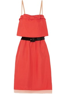 Marc Jacobs Woman Belted Tulle And Velvet-trimmed Silk-twill Mini Dress Tomato Red