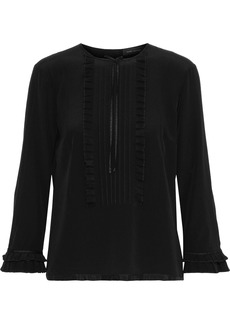 Marc Jacobs Woman Bow-embellished Pintucked Silk Crepe De Chine Blouse Black
