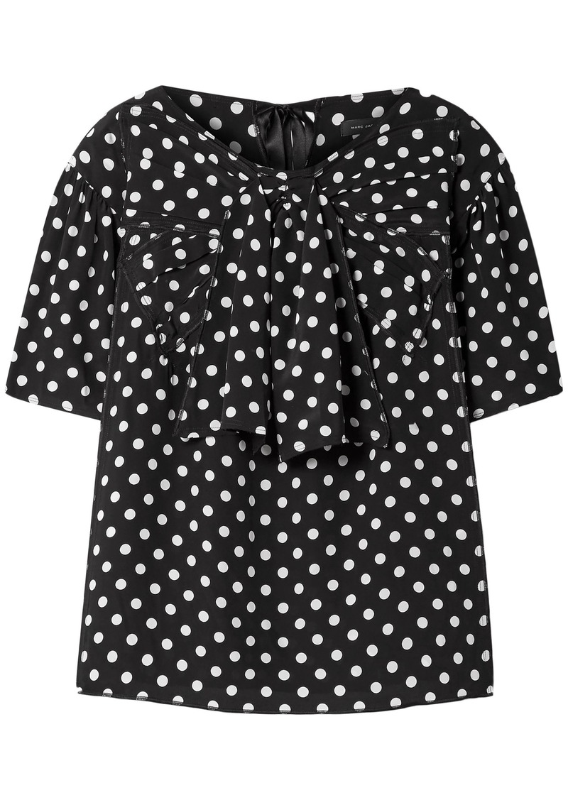 Marc Jacobs Woman Bow-embellished Polka-dot Silk Crepe De Chine Blouse Black