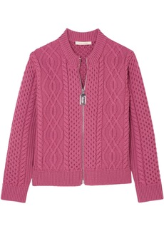 Marc Jacobs Woman Cable-knit Merino Wool Cardigan Fuchsia