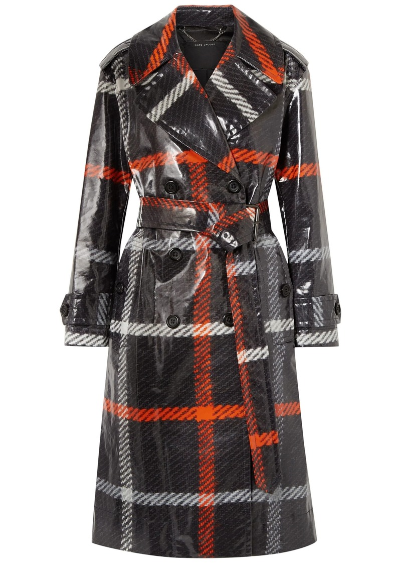 Marc Jacobs Woman Checked Coated-cotton Trench Coat Charcoal