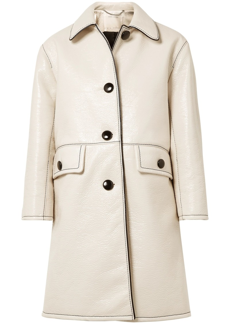 Marc Jacobs Woman Crinkled Coated-cotton Coat Ivory