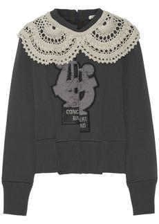 Marc Jacobs Woman Crochet-trimmed Appliquéd Wool-blend Sweater Dark Gray