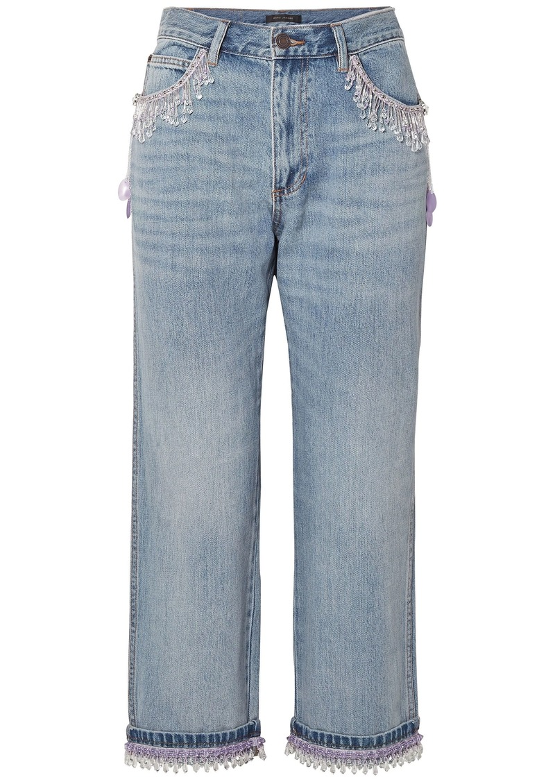 Marc Jacobs Woman Cropped Bead-embellished Boyfriend Jeans Light Denim