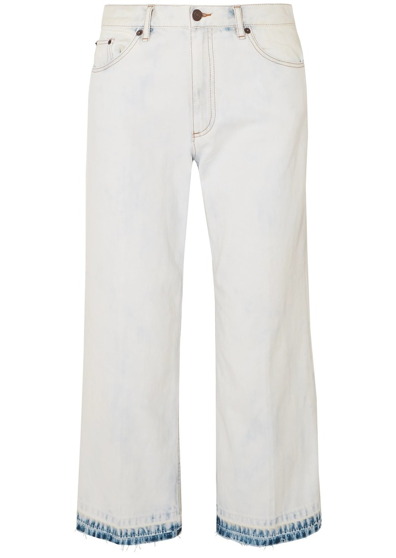 Marc Jacobs Woman Cropped Bleached Mid-rise Kick-flare Jeans Light Denim